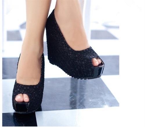 Nuevas cuñas Sexy mujer resplandeciente encaje plataforma bombas de suela de zapatos de tacón negro & Open Toe