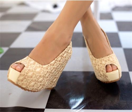 Nuevas cuñas Sexy mujer resplandeciente encaje suela de plataforma tacón zapatos bombas Beige & Open Toe