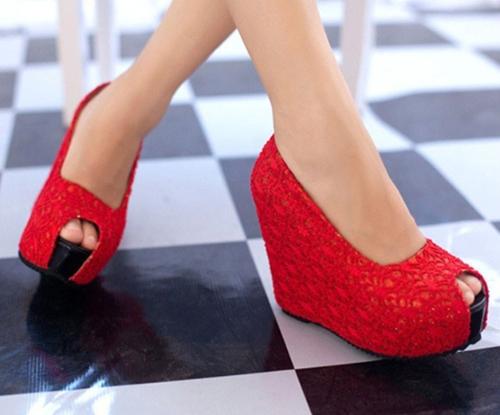 Nuevas cuñas Sexy mujer resplandeciente encaje suela de plataforma tacón zapatos bombas rojo & Open Toe