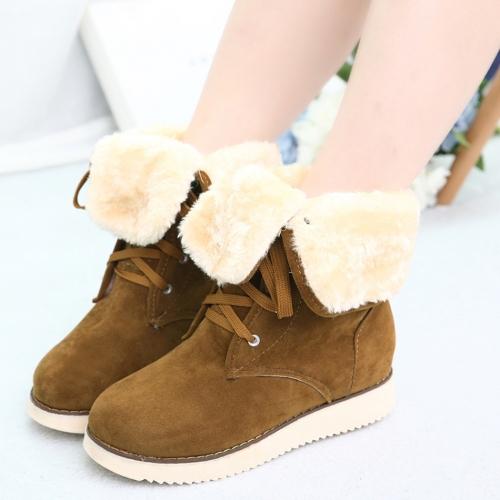 Nueva moda mujer botas gamuza piel atada fijación ovalada plegable Casual botas de nieve