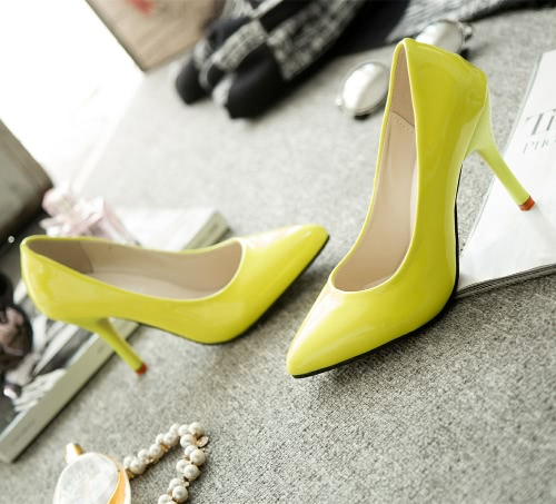 Новая мода женщин насосы лакированной кожи конфеты цвет указал мыс высоких каблуках простой фото