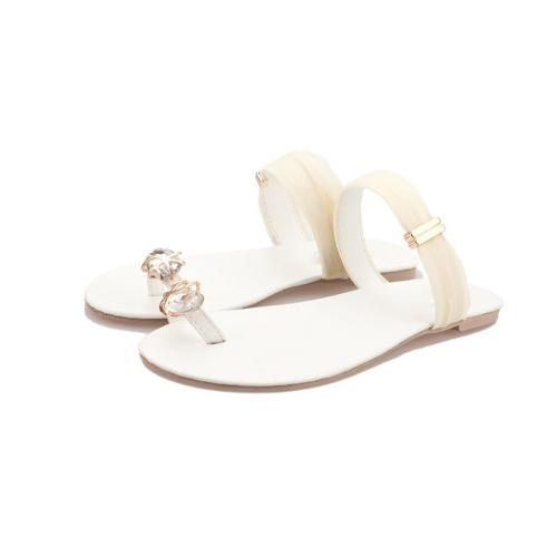 Nuevo verano mujeres chicas pisos Rhinestone del dedo del pie-post flip-flop sandalias zapatos Beige