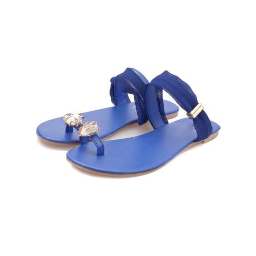 Nuevo verano mujeres chicas pisos del dedo del pie-post Rhinestone flip-flop sandalias zapatos azul