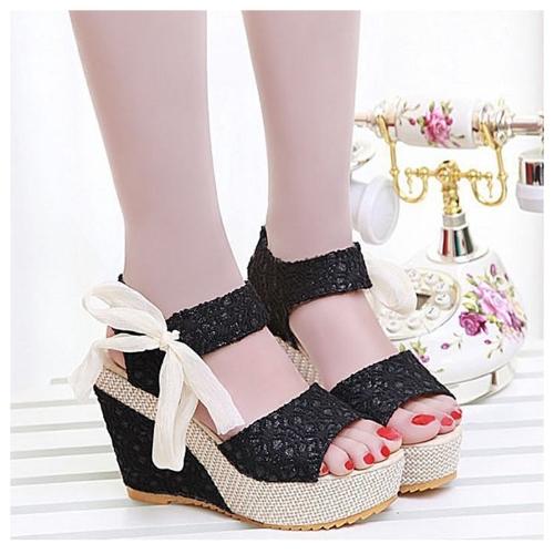 Nueva moda de verano encaje alta cuñas Peep Toe plataforma Slingback único zapatos sandalias negro