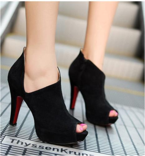 TOMTOP / New Sexy Women Heels Cutout Peep Toe Platform Sole Shoes Pumps Black