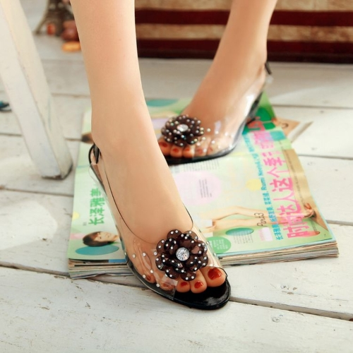 Mode Frauen transparente Sandalen Wedge Heel Peep Toe Flower Strass Pumps Pumps
