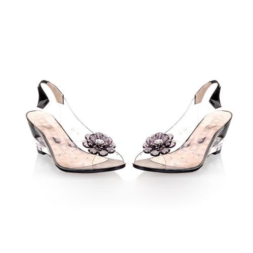 TOMTOP / Sapatos da moda mulheres transparente sandálias Cunha Salto Peep Toe flor strass bombas