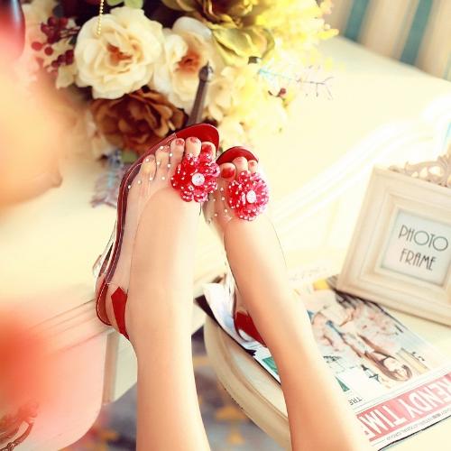 Sandalias transparentes cuña tacón Peep Toe flor pedrería bombas zapatos de las mujeres