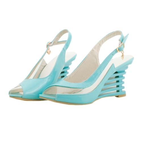 Nueva cuña del talón sandalias patente PU Panel transparente hebilla correa Open Toe zapatos de las mujeres
