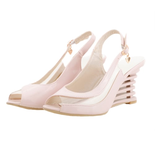 New Fashion Women Wedge Heel Sandals Patent PU Transparent Panel Buckle Strap Open Toe Shoes