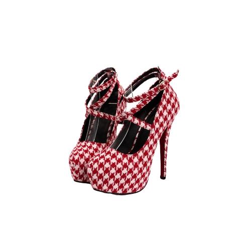 Nueva moda mujeres bombas plataforma oculta tiras hebilla Stiletto tacones zapatos de fiesta