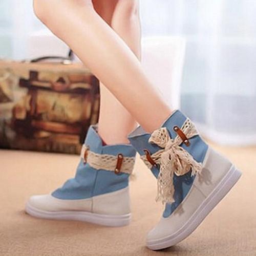 Nueva moda mujer botas planas cordón nudo del dril de algodón Patchwork resbalón en el dedo del pie redondo Botín casuales zapatos azul / oscuro azul