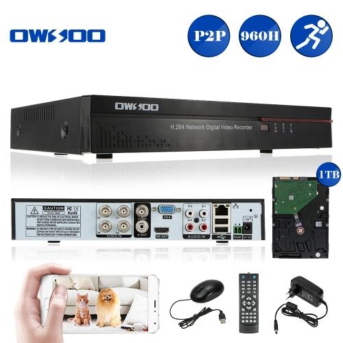OWSOO 4CH Kanal Full 960H / D1 H.264 HD P2P Cloud-Netzwerk-DVR Digital Video Recorder + 1TB HDD Unterstützung Audio Record Phone Control Motion-Detection-E-Mail-PTZ-Alarm für CCTV-Überwachungskamera-Überwachungssystem