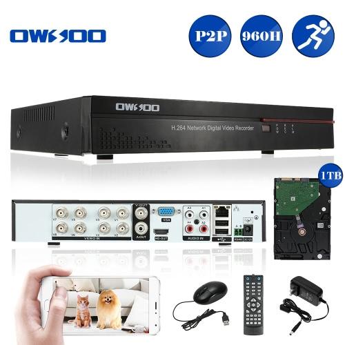 OWSOO 8CH Kanal voll 960H/D1 h. 264 HD P2P Cloud Netzwerk DVR Digital Video Recorder + 1 TB Festplatte unterstützt Audio Record Telefon Control Motion Detection E-Mail Alarm PTZ für CCTV Sicherheit Kamera-Überwachungssystem