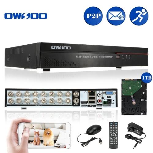 OWSOO 16CH Kanal voll CIF h. 264 HD P2P Cloud Netzwerk DVR Digital Video Recorder + 1 TB Festplatte unterstützt Audio Record Telefon Control Motion Detection E-Mail Alarm PTZ für CCTV Sicherheit Kamera-Überwachungssystem