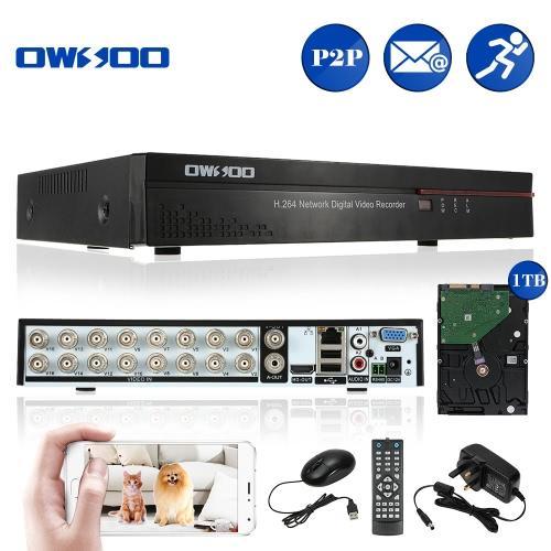 OWSOO 16CH Kanal volles CIF H.264 HD P2P Wolken-Netzwerk DVR Digital-Videorekorder + 1TB Festplattenunterstützung Audioaufzeichnungs-Telefon-Steuerung Bewegungserkennungs-E-Mail-Warnung PTZ für CCTV-Überwachungskamera-Überwachungssystem
