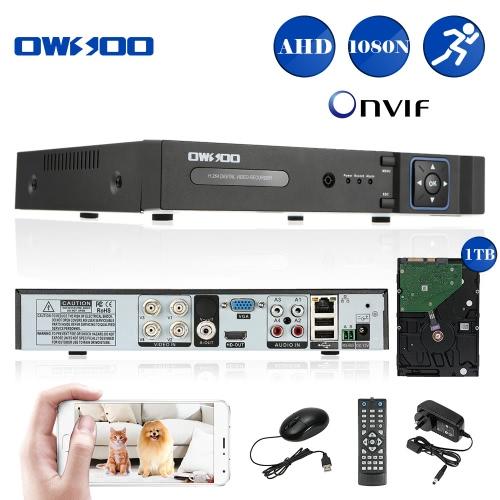 OWSOO 4CH Kanal voll 1080N(960*1080) AHD DVR HVR NVR h. 264 HD P2P Cloud Netzwerk Onvif Digital Video Recorder + 1TB HDD Unterstützung Audio Record Telefon Control Motion Detection E-Mail Alarm PTZ CCTV Sicherheit Kamera-Überwachungssystem