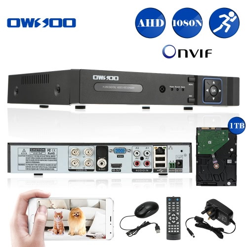 OWSOO 4CH Channel Full 1080N(960*1080) AHD DVR HVR NVR H.264 HD P2P Cloud Network Onvif Digital Video Recorder + 1TB HDD support Audio Record Phone Control Motion Detection Email Alarm PTZ for CCTV Security Camera Surveillance System