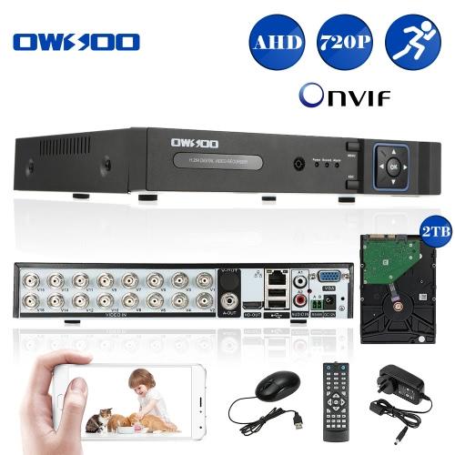OWSOO 16CH Kanal voller 720p AHD DVR HVR NVR h. 264 HD P2P Cloud Netzwerk Onvif Digital Video Recorder + 2TB Festplatte unterstützt Audio Record Telefon Control Motion Detection E-Mail Alarm PTZ CCTV Sicherheit Kamera-Überwachungssystem