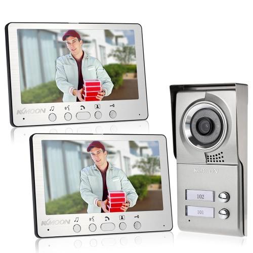 "KKmoon 7"" Wired Video Door Phone System Visual Intercom Doorbell Alloy Panel with 2*800x480 Indoor Monitor + 1*700TVL Outdoor Camera support Unlock Infrared Night View Rainproof for Door Entry Access Control"