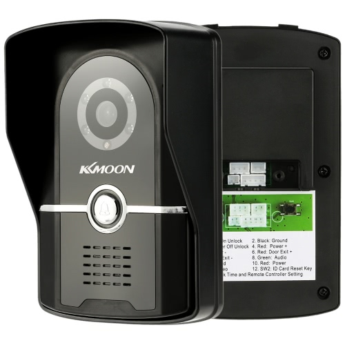 "1KKMOON 7"" Wired Video Door Phone System Visual Intercom Doorbell with 1*800x480 Indoor Monitor + 1*700TVL Outdoor Camera support Unlock Infrared Night View Rainproof Lock Time Delay Adjustable View Angels for Home Surveillance"
