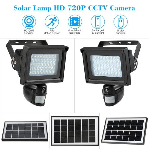 40 ir leds solar floodlight street lamp cctv security camera