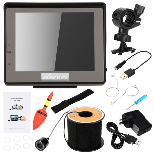 """KKMOON Mini HD 1200TVL Underwater Fish Finder Kit with 3.5"""" LCD Monitor + 15M Camera + 2200mah Rechargeable Battery + Bracket + Wristband support Waterproof Infrared Night View Plug and Play for Ice/Sea/River Fishing"""