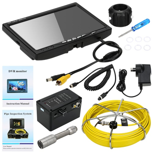 """KKMOON HD 1200TVL Snake Pipe Inspection System with 7"""" LCD Monitor + 20M Camera + 4G SD Card + 4000mah Battery Box + Portable Alloy Case support Record Photograph Battery Level Indication Waterproof Adjustable LED Intensity Night View Video Output Plug and Play for Wall Sewer Tube Inspect"""