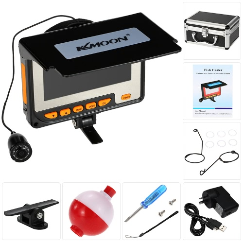 """KKMOON HD 1200TVL Underwater Fish Finder Kit with 4.3"""" LCD Monitor + 20M Camera + 4000mah Rechargeable Battery + Portable Alloy Case + Bracket + Lanyard support Waterproof Infrared Night View Plug and Play for Ice/Sea/River Fishing"""