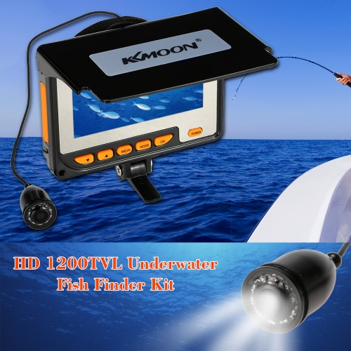 "KKMOON HD 1200TVL Underwater Fish Finder Kit with 4.3"" LCD Monitor + 20M Camera + 8G TF Card + 4000mah Rechargeable Battery + Portable Alloy Case + Bracket + Lanyard support Video Record Photograph Waterproof Infrared Night View Plug and Play for Ice/Sea/River Fishing"