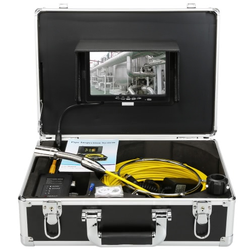 """KKmoon® HD Snake Pipe Inspection System with 7"""" LCD Monitor + 20M 1200TVL Camera + 4000mah Battery Box + Portable Alloy Case support Battery Level Indication Waterproof Adjustable LED Intensity Night View Video Output Plug and Play for Wall Sewer Tube Inspect"""