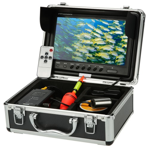 """KKmoon® HD Underwater Fish Finder Kit with 9"""" LCD Monitor + 30M 1200TVL Camera + 4000mah Battery Box + Removable Sun-shield + Portable Alloy Case + Remote Control support Waterproof Night View Battery Level Indication Adjustable LED Intensity Plug and Play for Ice/Sea/River Fishing"""