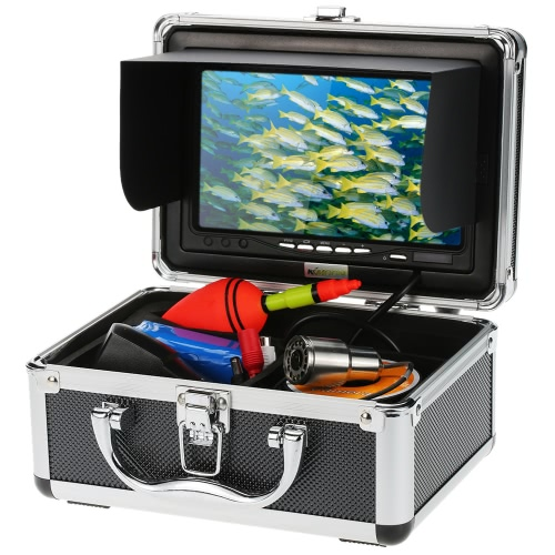 """KKmoon® HD 1200TVL Underwater Fish Finder Kit with 7"""" LCD Monitor + 15M Camera + 4500mah Battery + Portable Alloy Case support Waterproof Night View Plug and Play for Ice/Sea/River Fishing"""