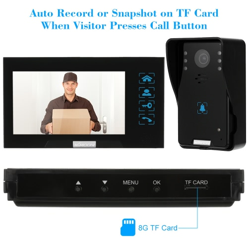 "KKmoon® 7"" Wired Video Door Phone System Record/Snapshot Visual Intercom Doorbell with 1*800x480 Indoor Monitor + 2*1000TVL HD Outdoor Camera + 1*8G TF Card support Touch Button Unlock Infrared Night View Rainproof Lock Time Delay Adjustable Angles for Door Entry Access Control System"