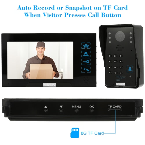 """KKmoon® 7"""" Wired Video Door Phone System Record/Snapshot Visual Intercom Doorbell with 2*800x480 Indoor Monitor + 1*1000TVL Outdoor Camera + 2*8G TF Card + 5*ID Card + 1*Remote Control support Touch Button ID Card/Code/Remote Unlock Infrared Night View Rainproof Lock Time Delay Adjustable Angles for Door Entry Access Control System"""