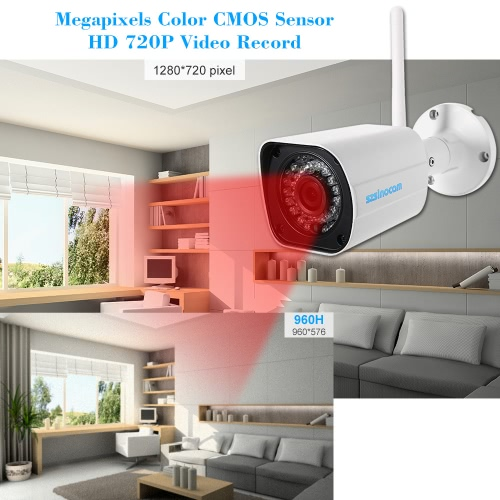 szsinocam 720P HD Wireless WIFI Bullet IP Camera 1.0MP 1/4¡¯¡¯ CMOS 4mm Lens 36pcs IR LEDS Support Night Vision Motion Detection Phone APP Control Built-in 8G TF Card