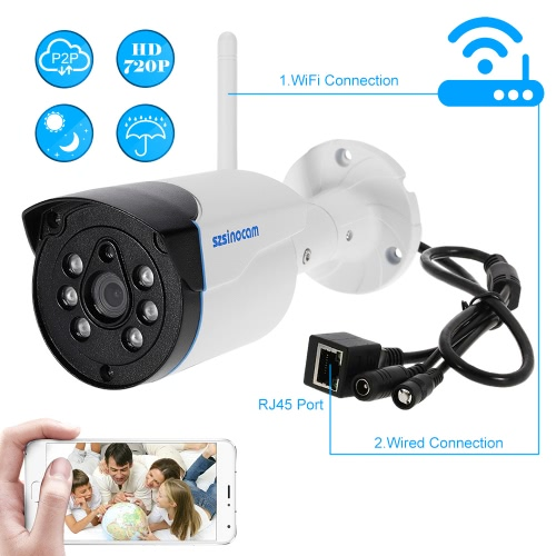 szsinocam 720P HD Wireless WIFI Bullet Waterproof IP Camera 1.0MP 1/4¡¯¡¯ CMOS 4mm Lens 6pcs Array IR LEDS H.264 P2P Built-in 8G TF Card Support Motion Detection Phone APP Control Night Vision for Indoor Outdoor Security
