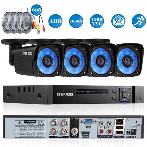 OWSOO 4CH Kanal voll AHD 1080N 1500TVL CCTV-Überwachungssystem DVR-Sicherheitssystem