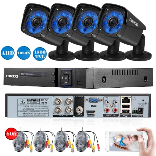 OWSOO 4CH Channel Full AHD 1080N 1500TVL CCTV Vigilância DVR Sistema de Segurança