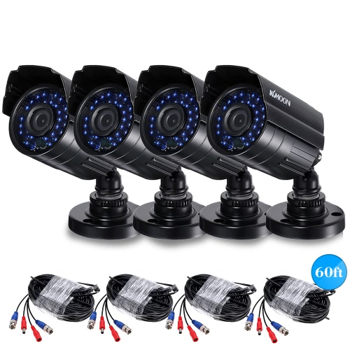 KKmoon 4*1080P AHD  CCTV Camera + 4*60ft  Cable PAL System