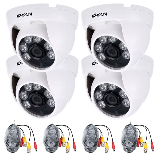 KKmoon 4 * 960P AHD Dome IR CCTV Camera PAL System + 4 * 60ft Vigilância Cabo