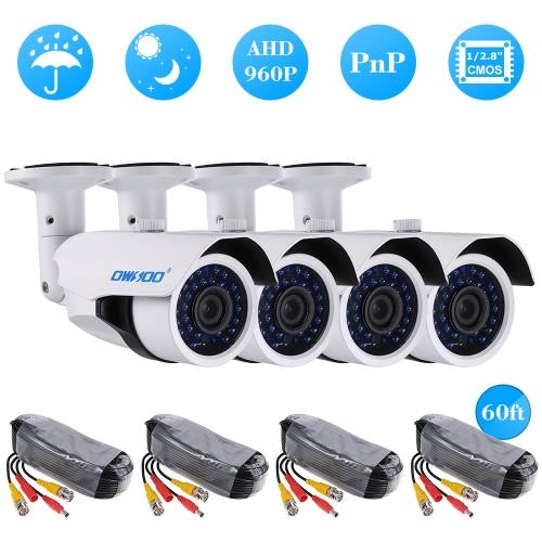 OWSOO 4 * 960P AHD CCTV-Kamera + 4 * 60ft Überwachungskabel