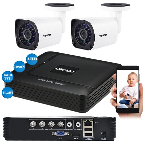 OWSOO 4CH 1080N DVR + 2pcs AHD 720P Kugel NTSC System CCTV-Kamera