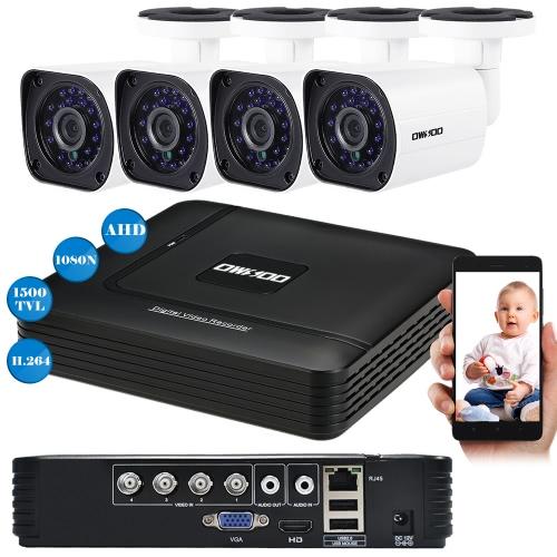 OWSOO 4CH 1080N DVR + 4pcs AHD 720P Kugel-CCTV-Kamera PAL System