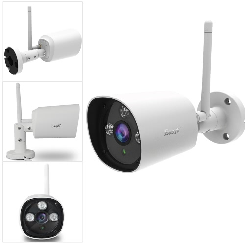 EasyN HD 720P Megapixel Wireless Wifi IP Cloud Camera CCTV Surveillance Security Network Outdoor Indoor Bullet Camera Support P2P for Android/iOS APP Browser View Onvif Weatherproof IR-CUT Filter Infrared Night View Motion Detection Three Dot-matrix LEDs