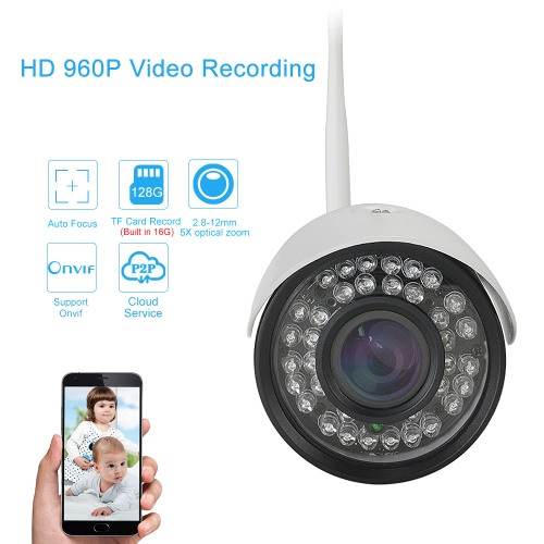 EasyN Auto-focus 2.8-12mm Lens HD 960P 1.3 Megapixels Wireless Wifi IP Camera CCTV Surveillance Security Network Outdoor Indoor Bullet Camera Support P2P for Android/iOS APP Browser View Onvif Weatherproof IR-CUT Filter Infrared Night View Motion Detectio