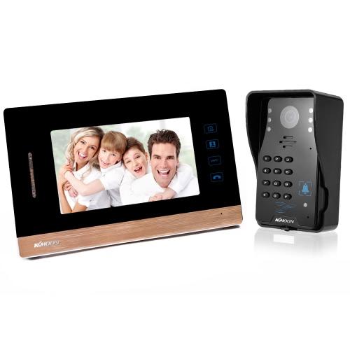 """KKmoon 7 """"Video Türsprechanlage Interkom Türklingel Touch-Taste Ausweiskarten / Code / Fernbedienung Entsperren Nachtsicht Regenfeste Sicherheit CCTV Kamera Home Überwachung WD03SR11"""