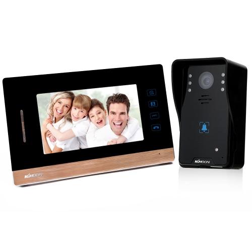 """KKmoon 7 """"Video Door Phone Intercome Doorbell Botão de toque Desbloqueado remoto Night Vision Câmera CCTV de segurança à prova de chuva Home Surveillance WD03K11"""