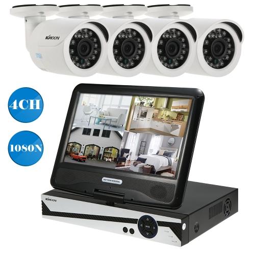 KKmoon 10.1 '' 4CH AHD 1080N Überwachungskamera-System