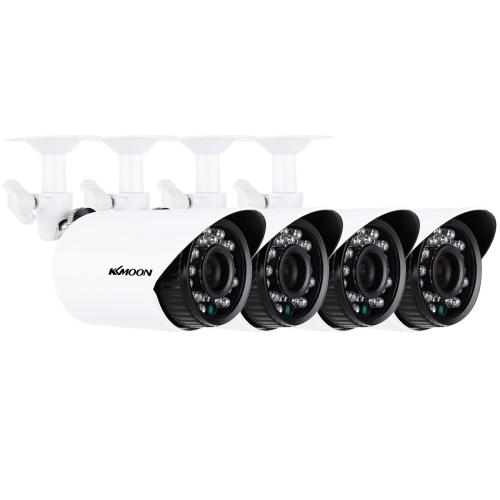 KKmoon® 4pcs / lot 1500TVL cámaras CMOS 3.6mm resistente a la intemperie IP66 IR-CUT filtro día / noche al aire libre / interior seguridad en el hogar CCTV Bullet Camera Kit